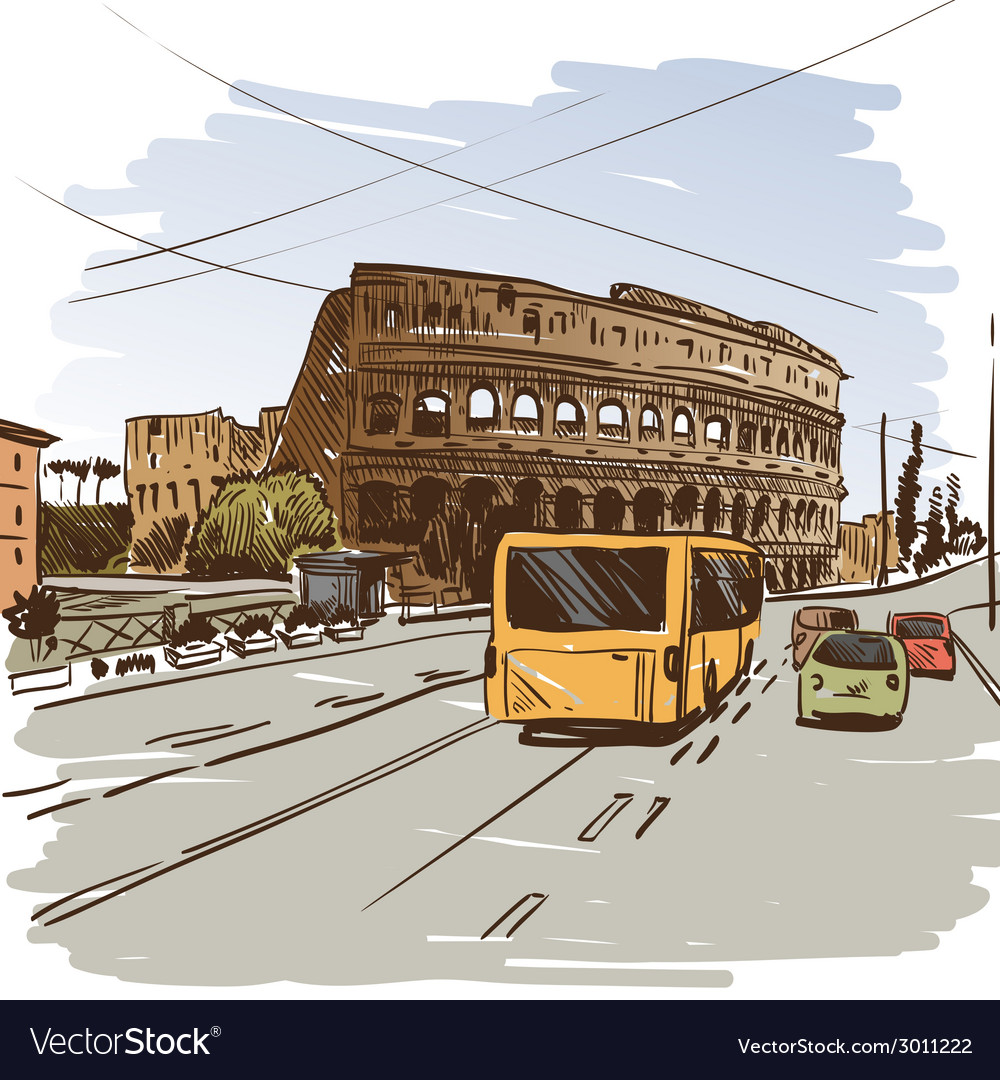 Rome cityscape drawing vector | Price: 1 Credit (USD $1)
