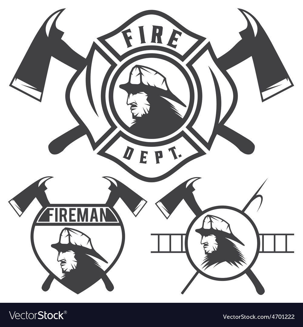 Set of fire department emblems and badges vector | Price: 1 Credit (USD $1)
