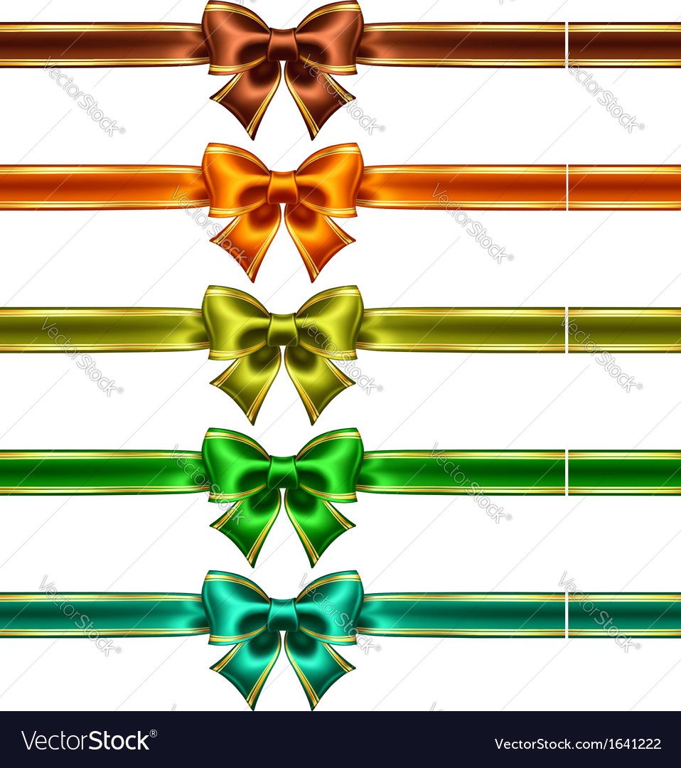 Silk bows with ribbons and golden edging vector | Price: 1 Credit (USD $1)