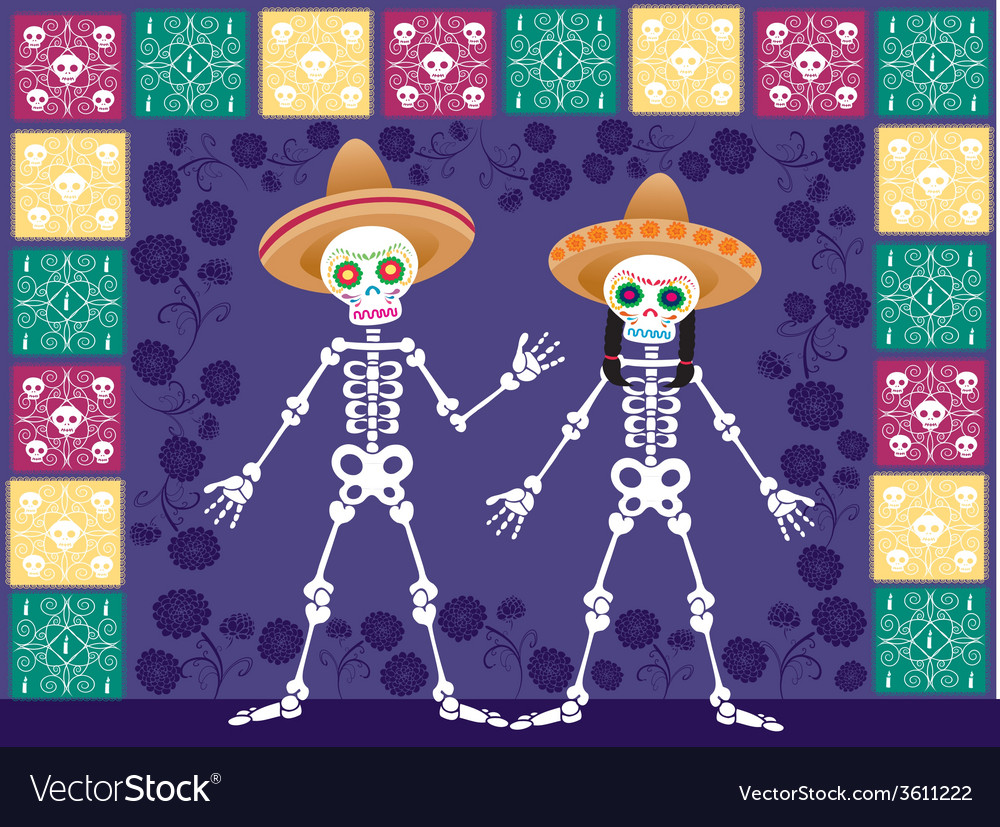 Two sugar skull in the nigth vector | Price: 1 Credit (USD $1)