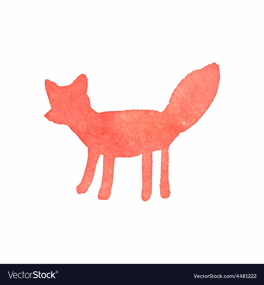 Watercolor fox on the white background aquarelle vector | Price: 1 Credit (USD $1)