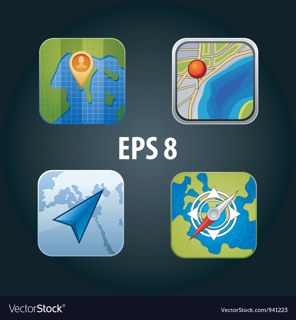 Apps gps icon set vector | Price: 3 Credit (USD $3)