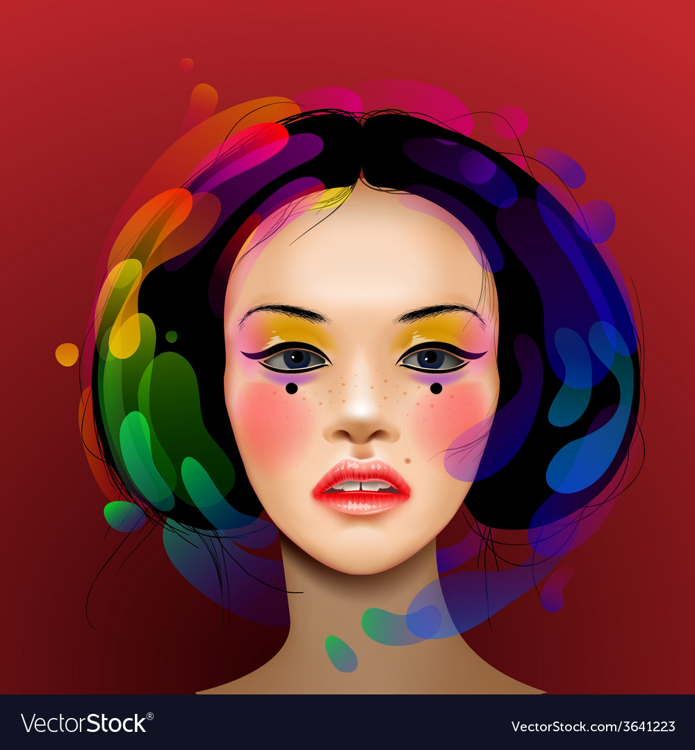 Asian woman beauty face portrait vector