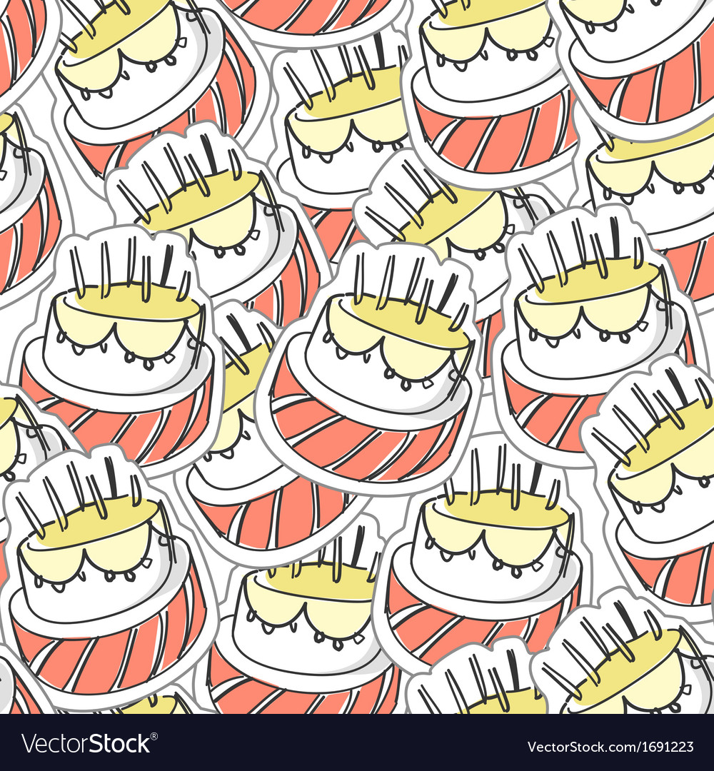 Birthdays cake seamles background vector | Price: 1 Credit (USD $1)