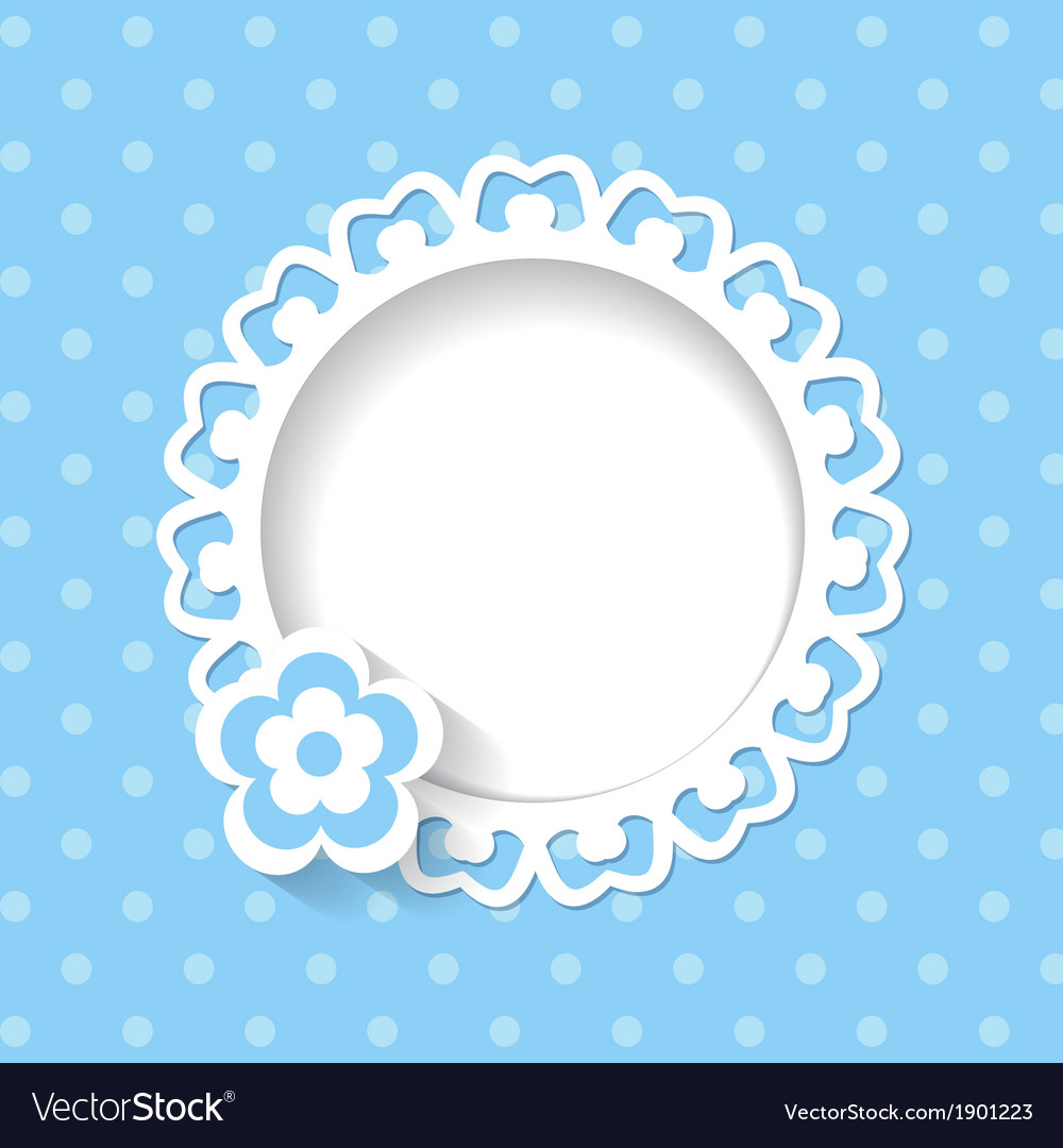Blue background with a frame and a flower vector | Price: 1 Credit (USD $1)