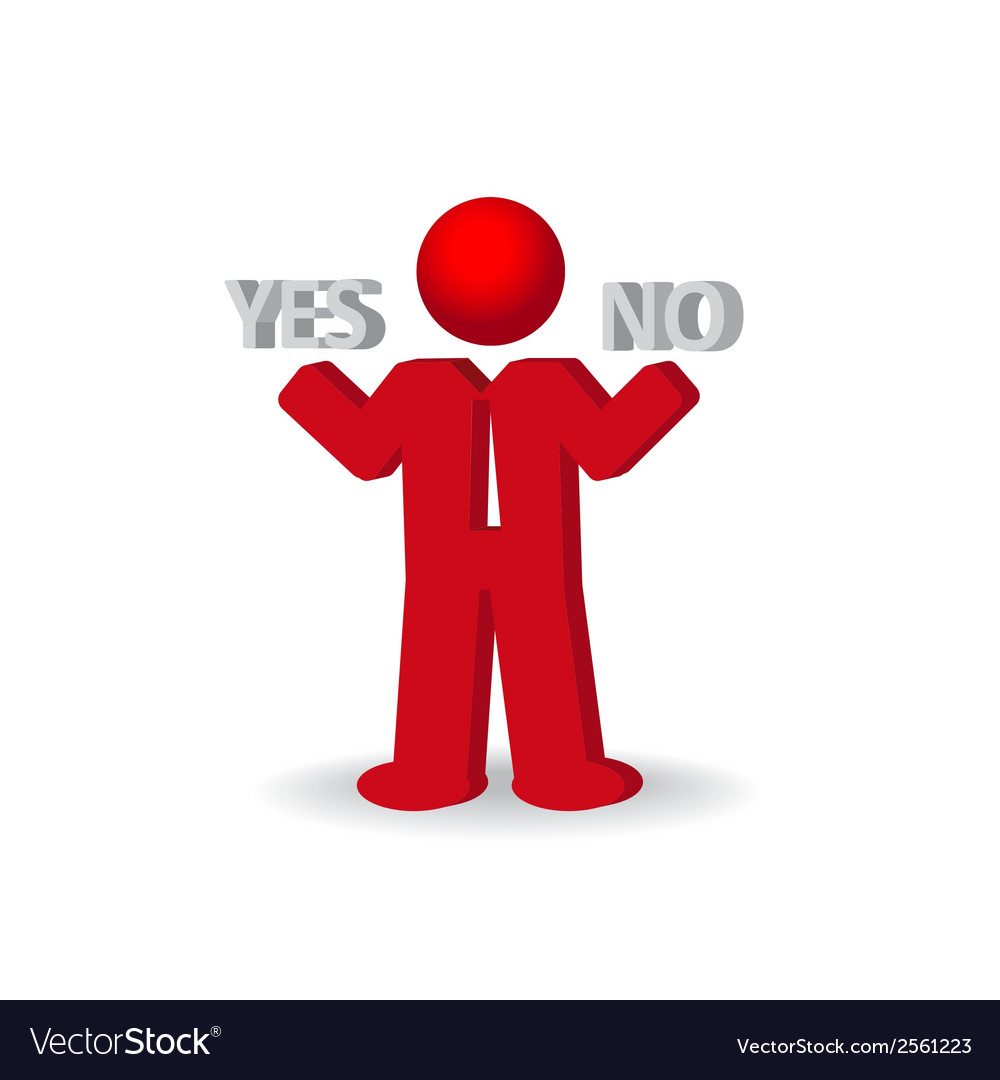 Busines man person presents yes and no words vector | Price: 1 Credit (USD $1)