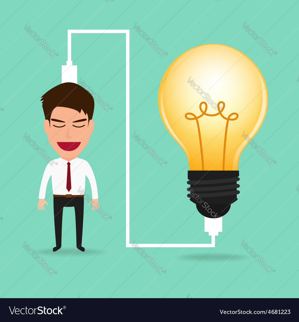 Businessman charging idea from lightbulb vector | Price: 1 Credit (USD $1)