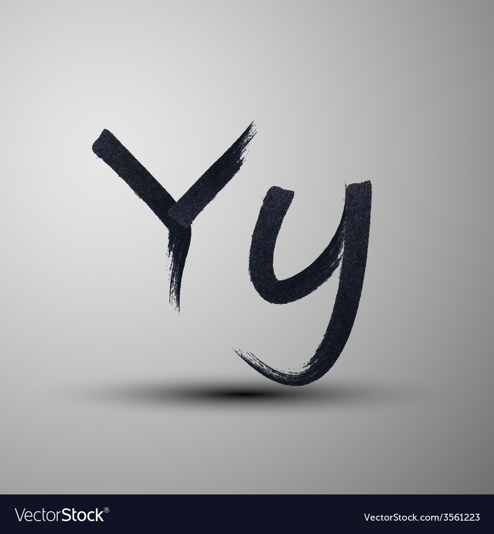 Calligraphic hand-drawn marker or ink letter y vector | Price: 1 Credit (USD $1)