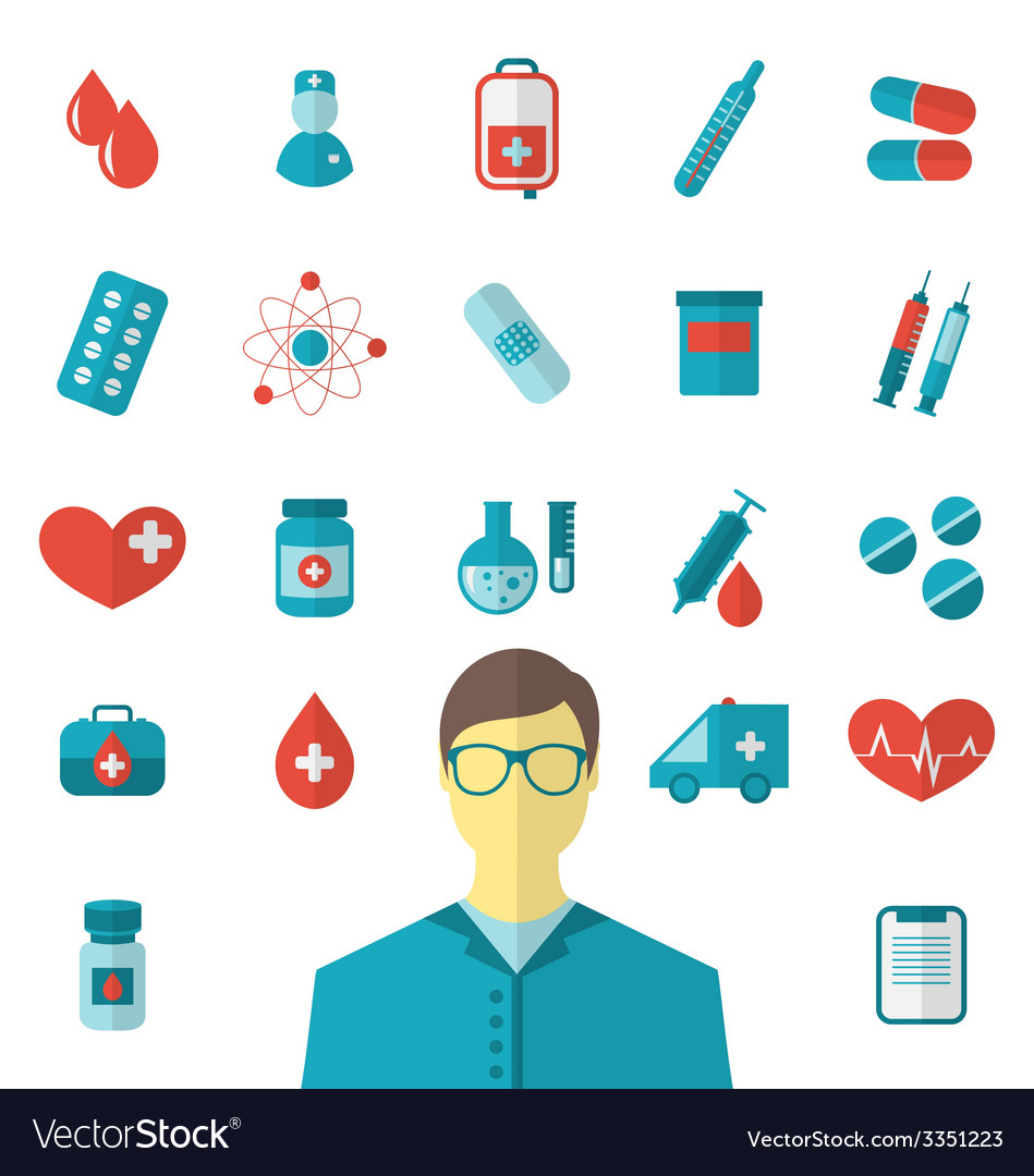 Collection trendy flat medical icons isolated on vector | Price: 1 Credit (USD $1)