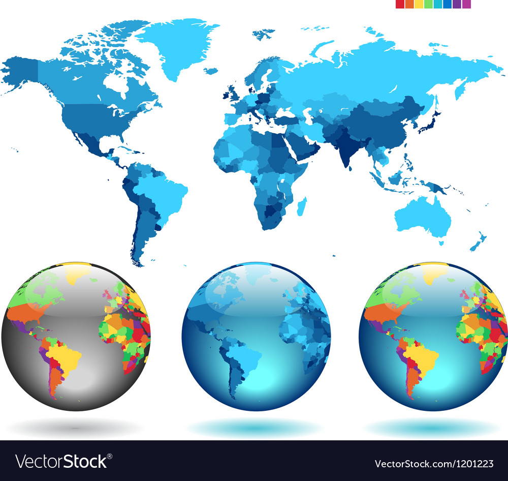 Globes on blue detailed map vector | Price: 1 Credit (USD $1)