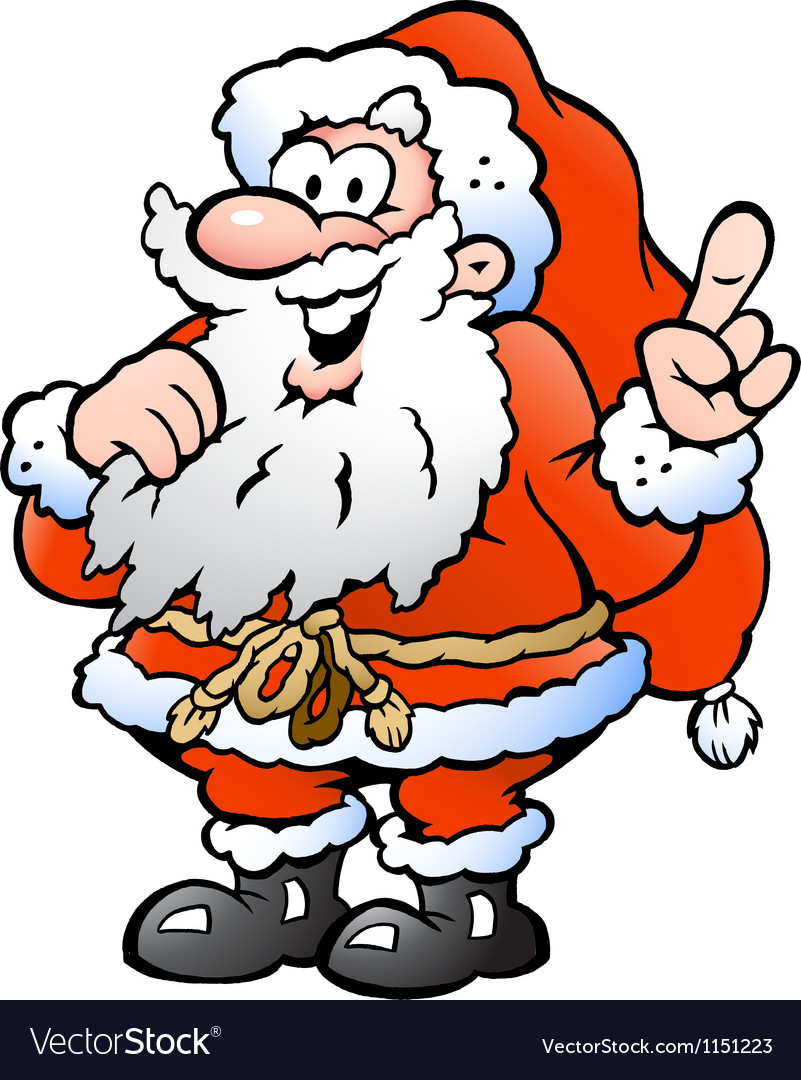 Hand-drawn of an happy santa pointing vector   Price: 1 Credit (USD $1)