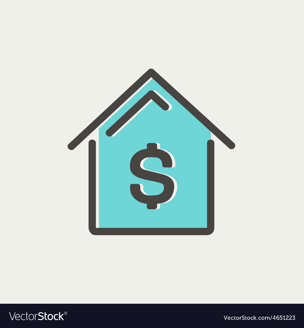 House mortgage thin line icon vector | Price: 1 Credit (USD $1)
