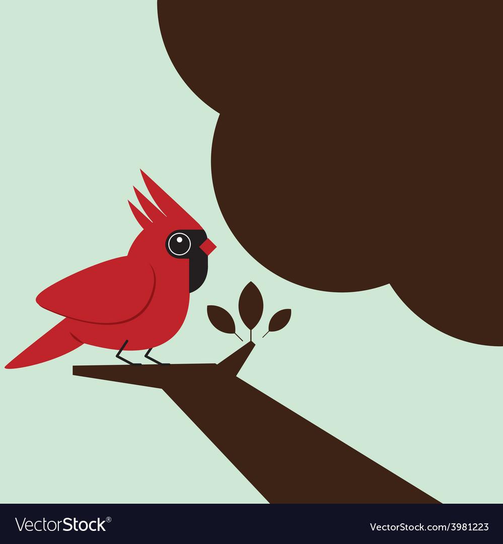 Little bird on the tree vector | Price: 1 Credit (USD $1)