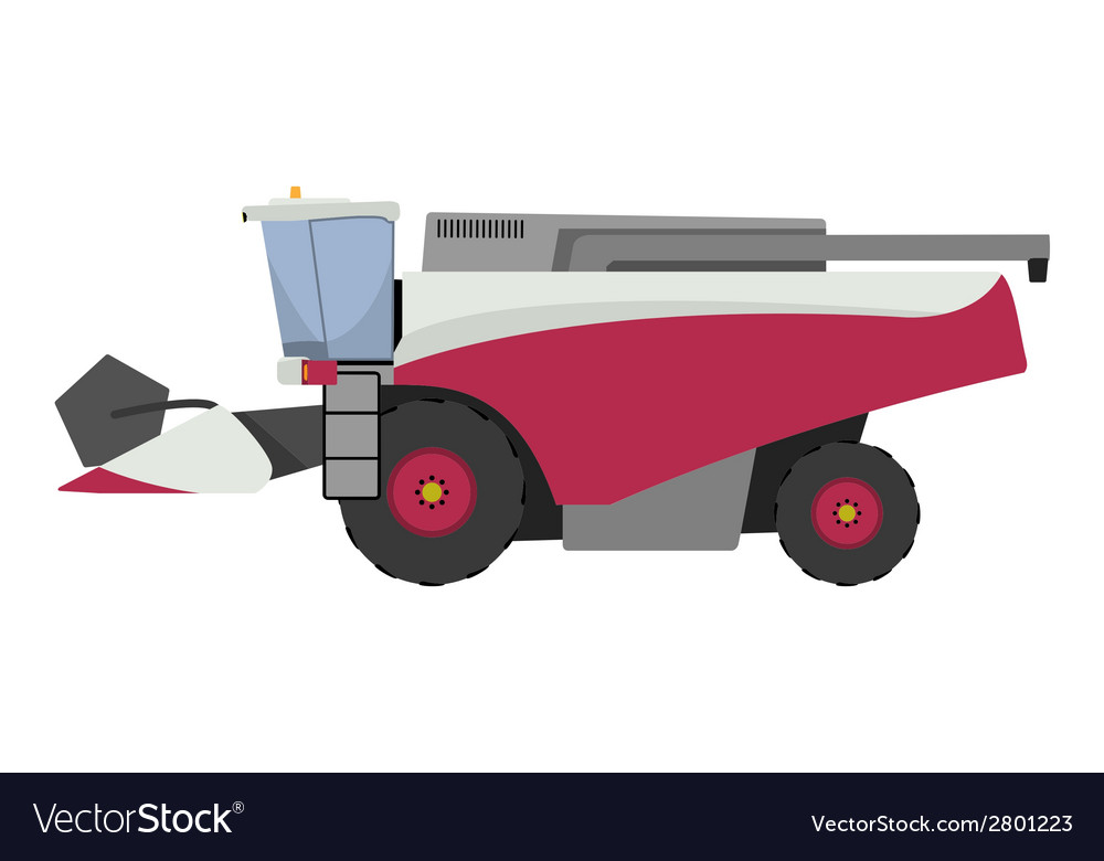 Modern red combine harvester vector | Price: 1 Credit (USD $1)