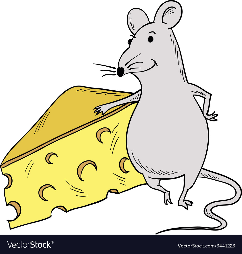 Mouse and piece of cheese vector | Price: 1 Credit (USD $1)