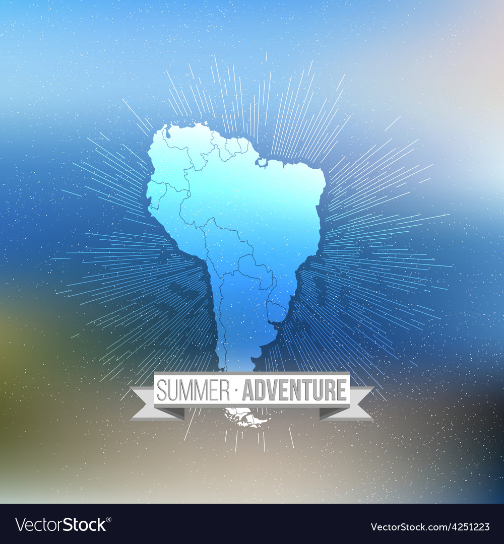 Summer adventure poster south america map with vector | Price: 1 Credit (USD $1)