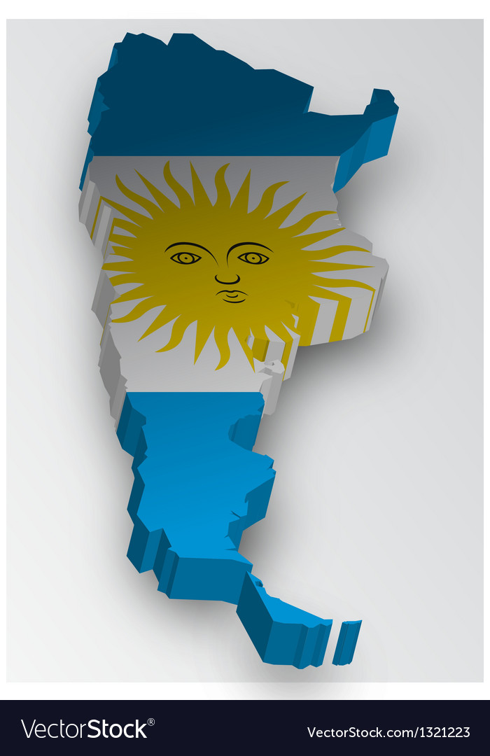 Three dimensional map of argentina in flag colors vector | Price: 1 Credit (USD $1)