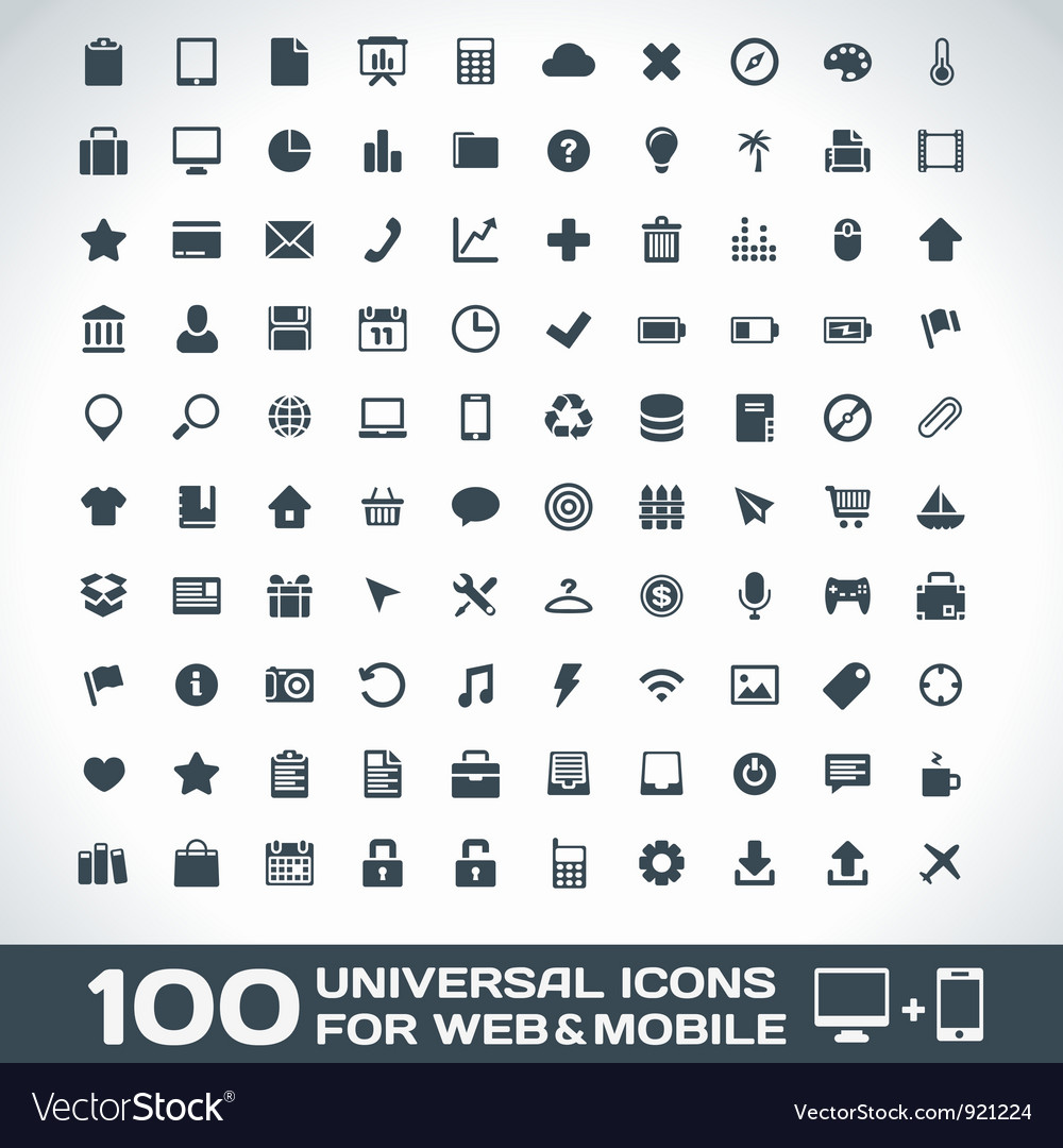 100 universal icons for web and mobile vector | Price: 1 Credit (USD $1)