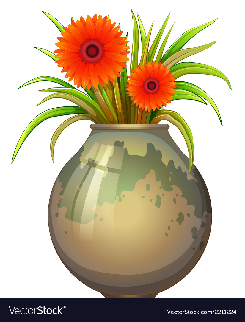 A big pot with a flowering plant vector | Price: 1 Credit (USD $1)