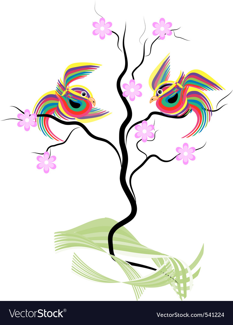 Abstract striped birds vector | Price: 1 Credit (USD $1)