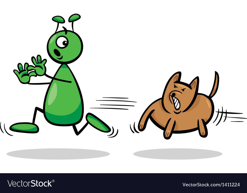 Alien and dog cartoon vector | Price: 1 Credit (USD $1)