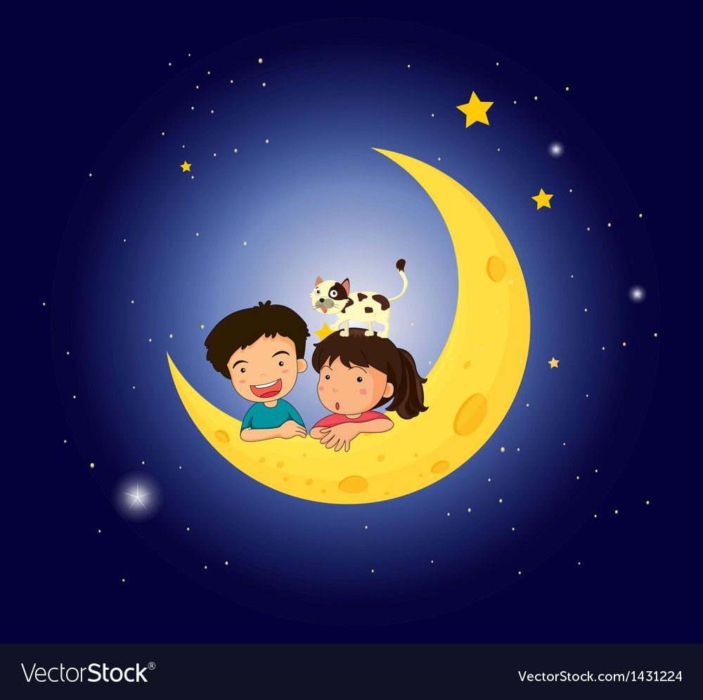Children on the moon with a cat vector | Price: 1 Credit (USD $1)