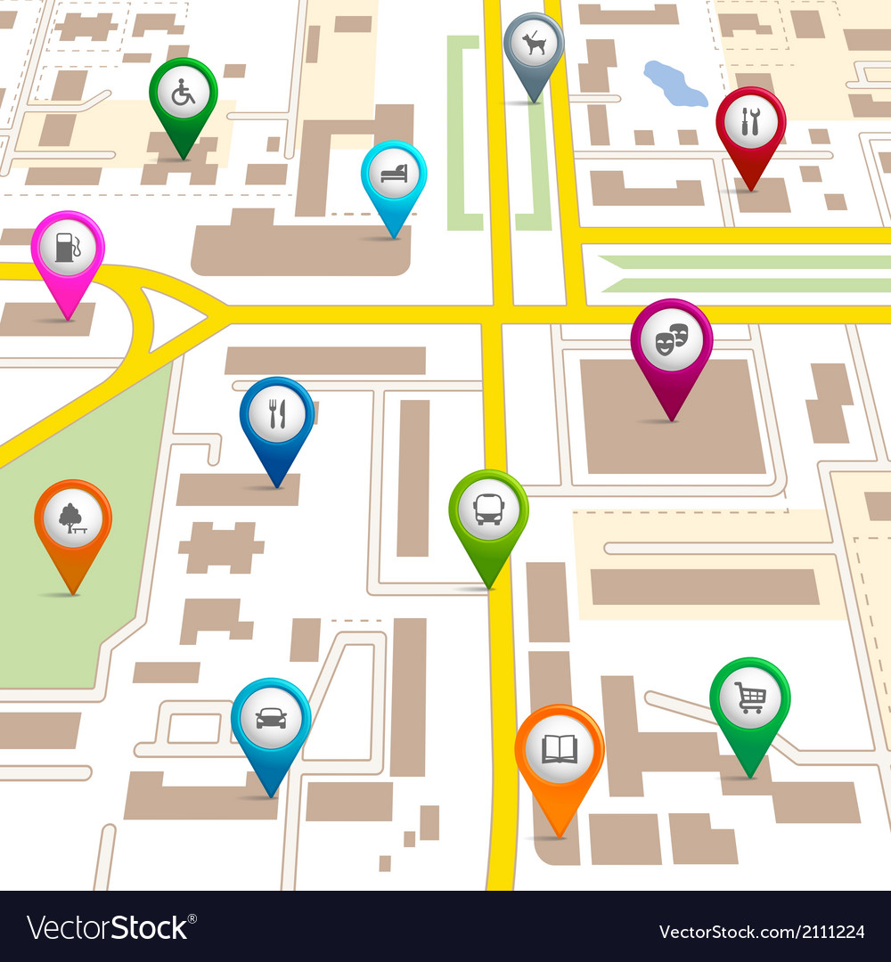 City map with pin pointers vector | Price: 1 Credit (USD $1)