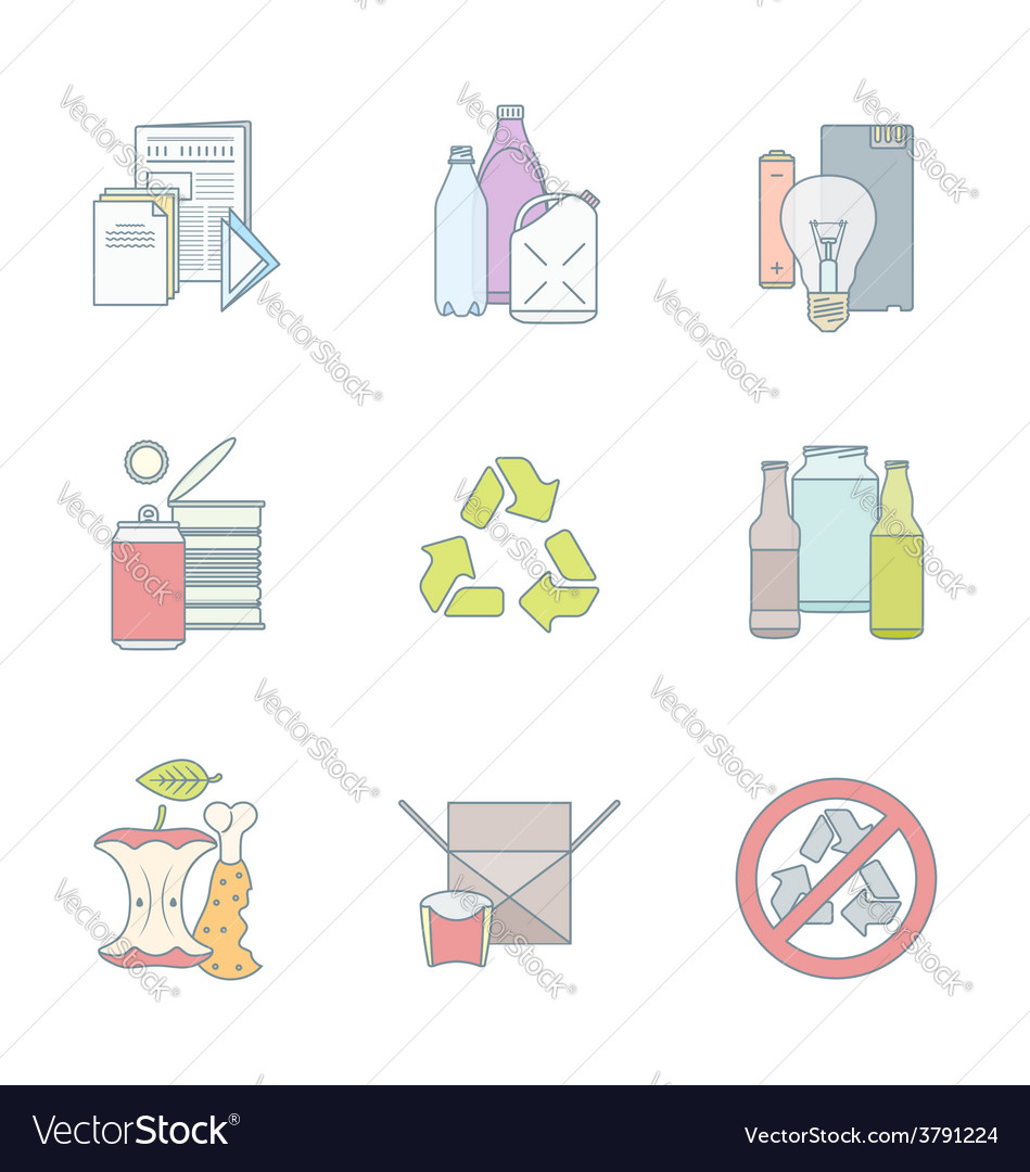 Color outline various waste recycle separate vector | Price: 1 Credit (USD $1)