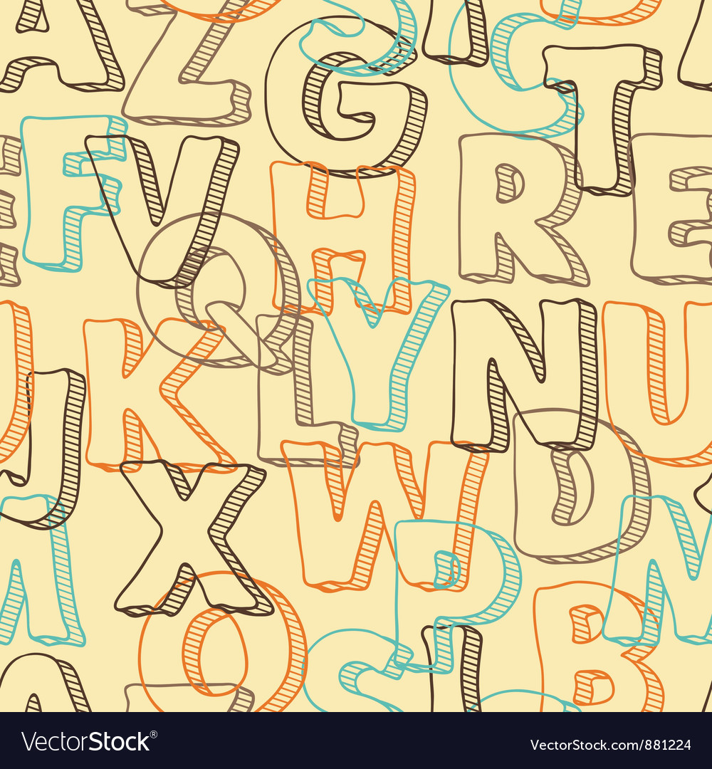 Colored seamless pattern with letters of alphabet vector | Price: 1 Credit (USD $1)