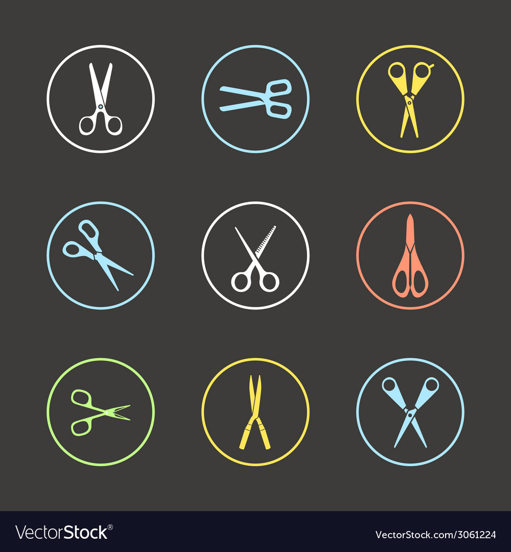 Different types of scissors vector | Price: 1 Credit (USD $1)