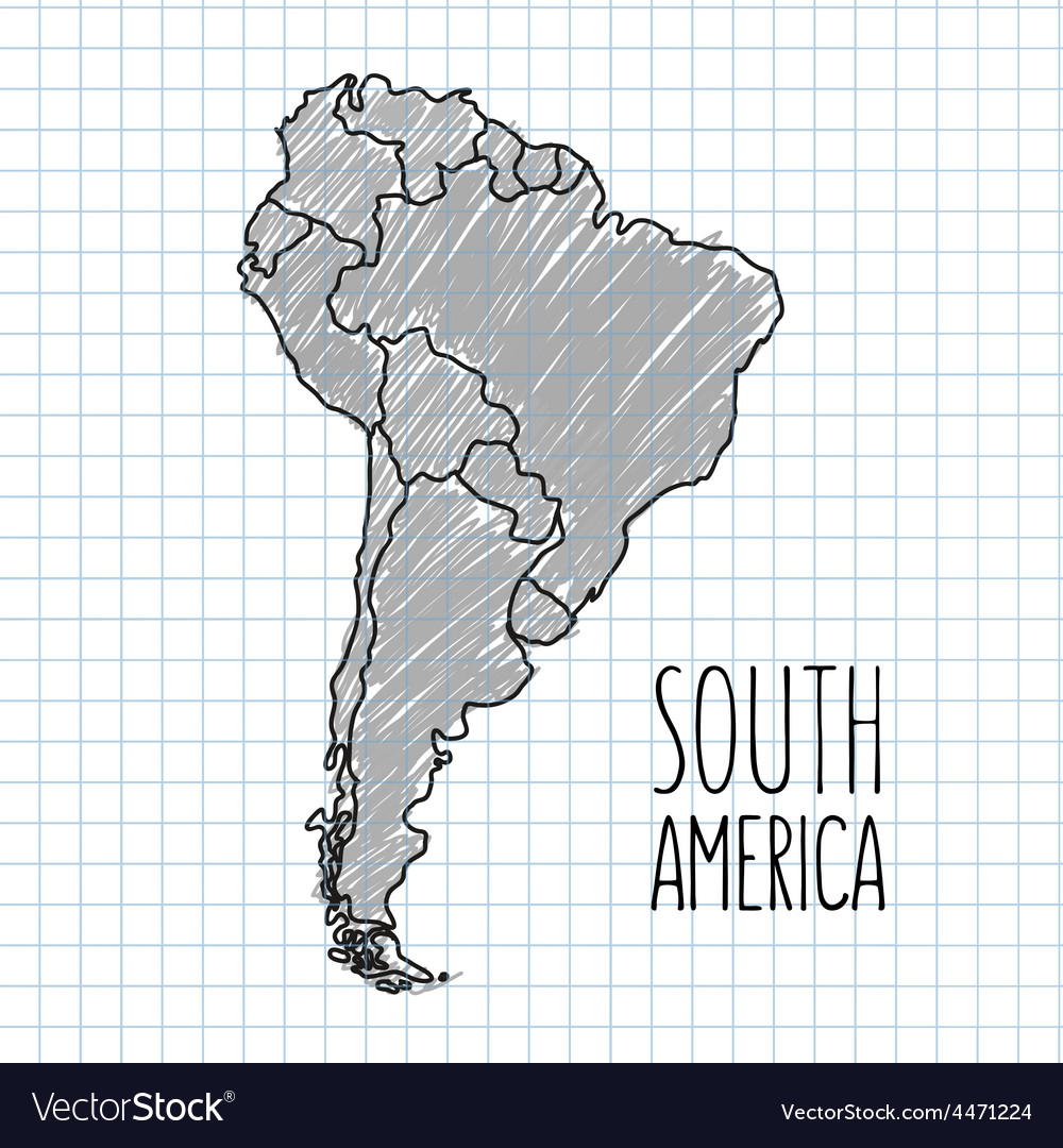 Grey pen hand drawn south america map on vector | Price: 1 Credit (USD $1)