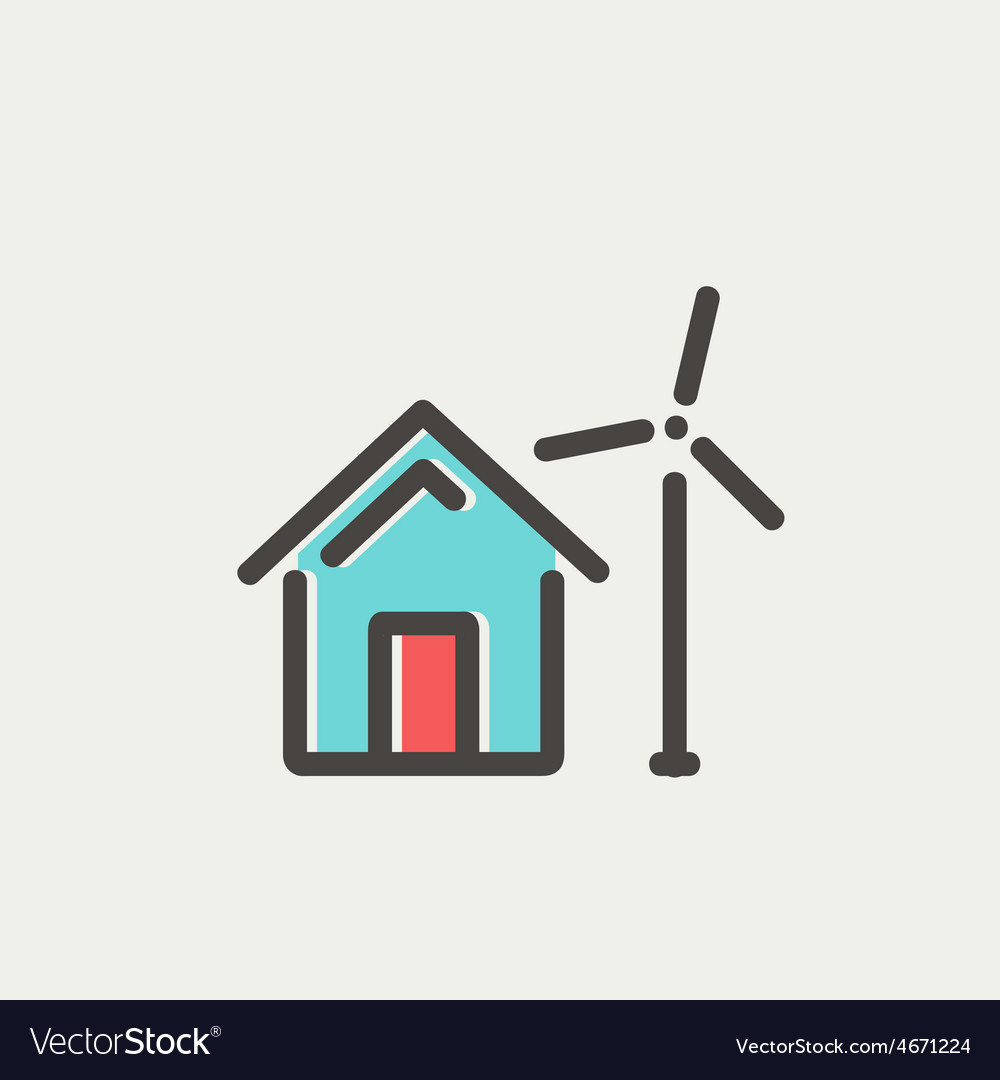 House with windmill thin line icon vector | Price: 1 Credit (USD $1)