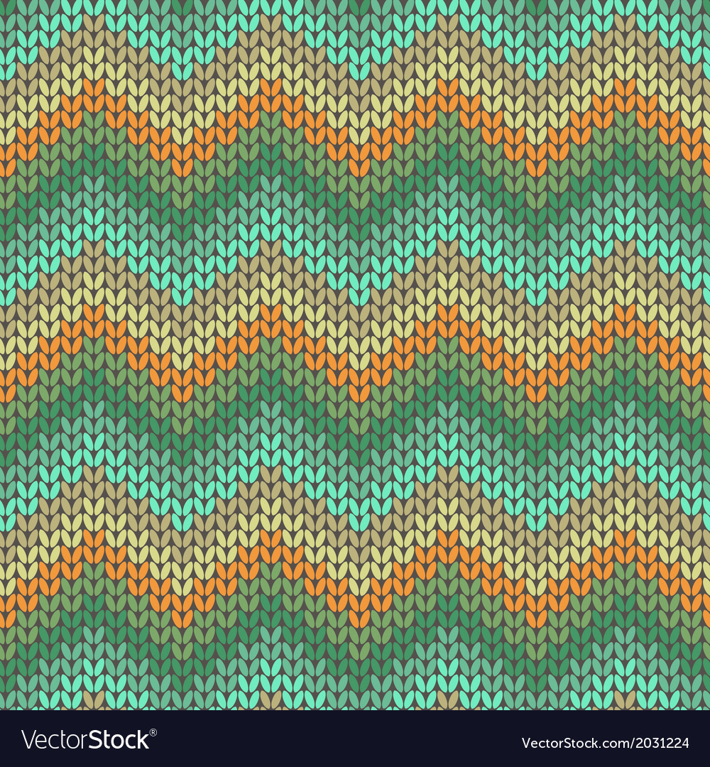 Knitted geometric pattern in orange and green vector | Price: 1 Credit (USD $1)