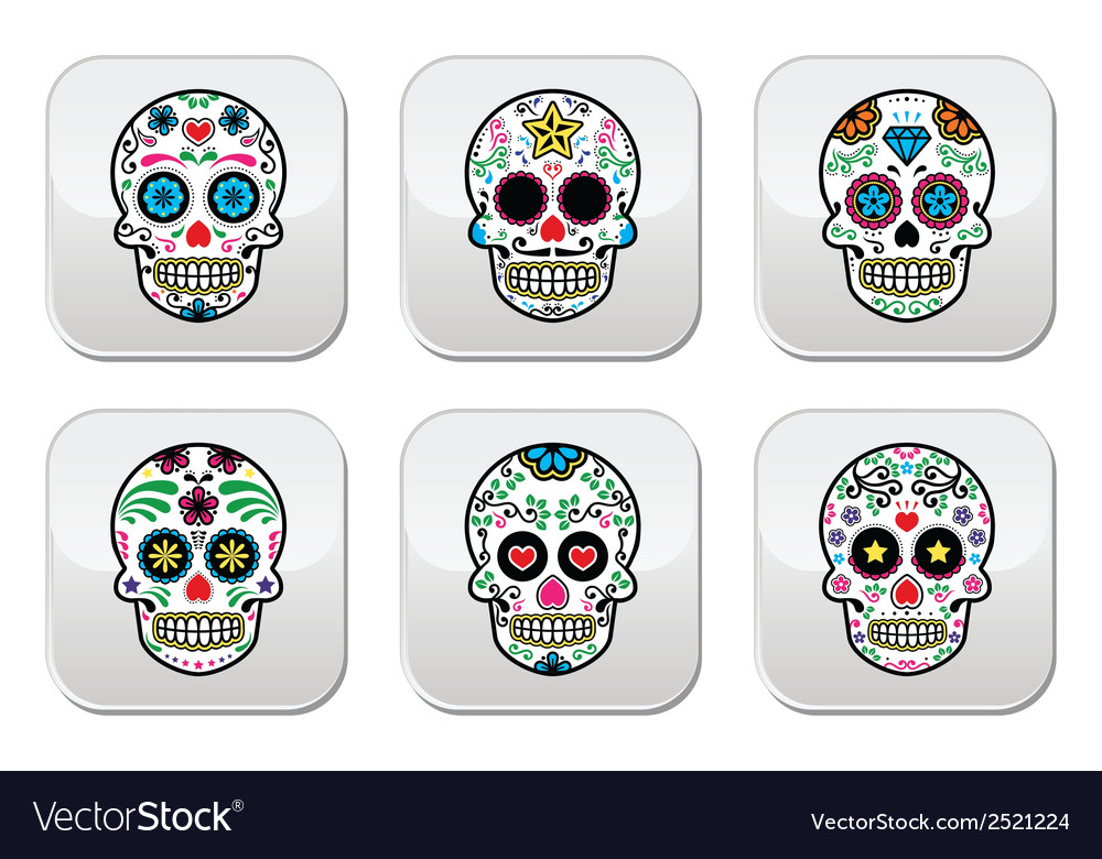 Mexican sugar skull buttons set color on black vector | Price: 1 Credit (USD $1)