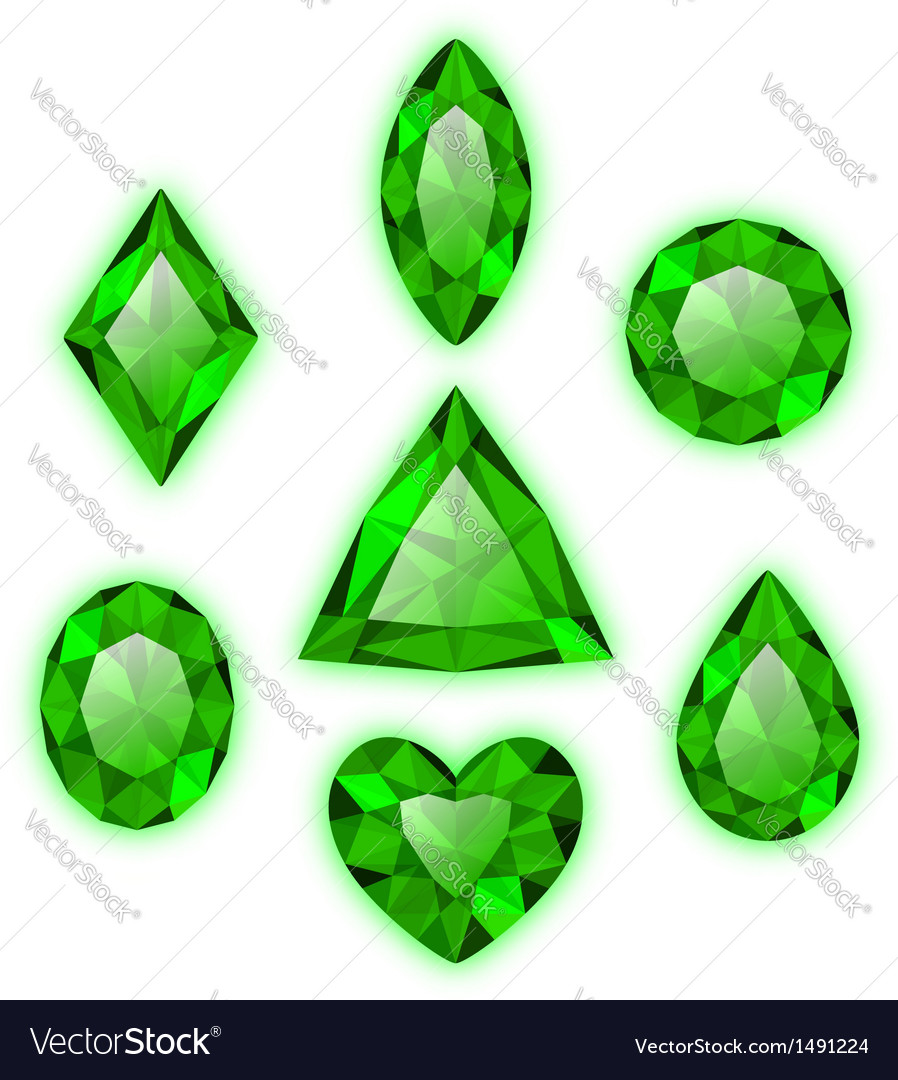 Set of green gems isolated on white vector | Price: 1 Credit (USD $1)