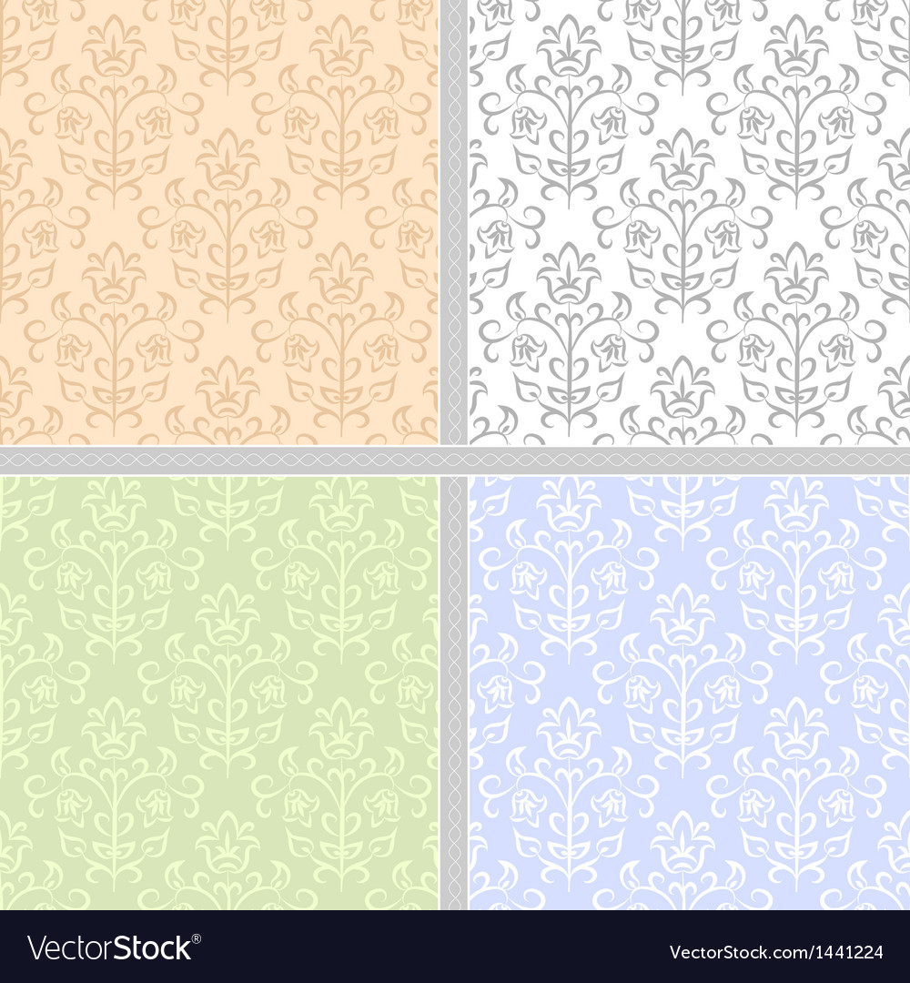 Summer floral seamless patter set vector | Price: 1 Credit (USD $1)