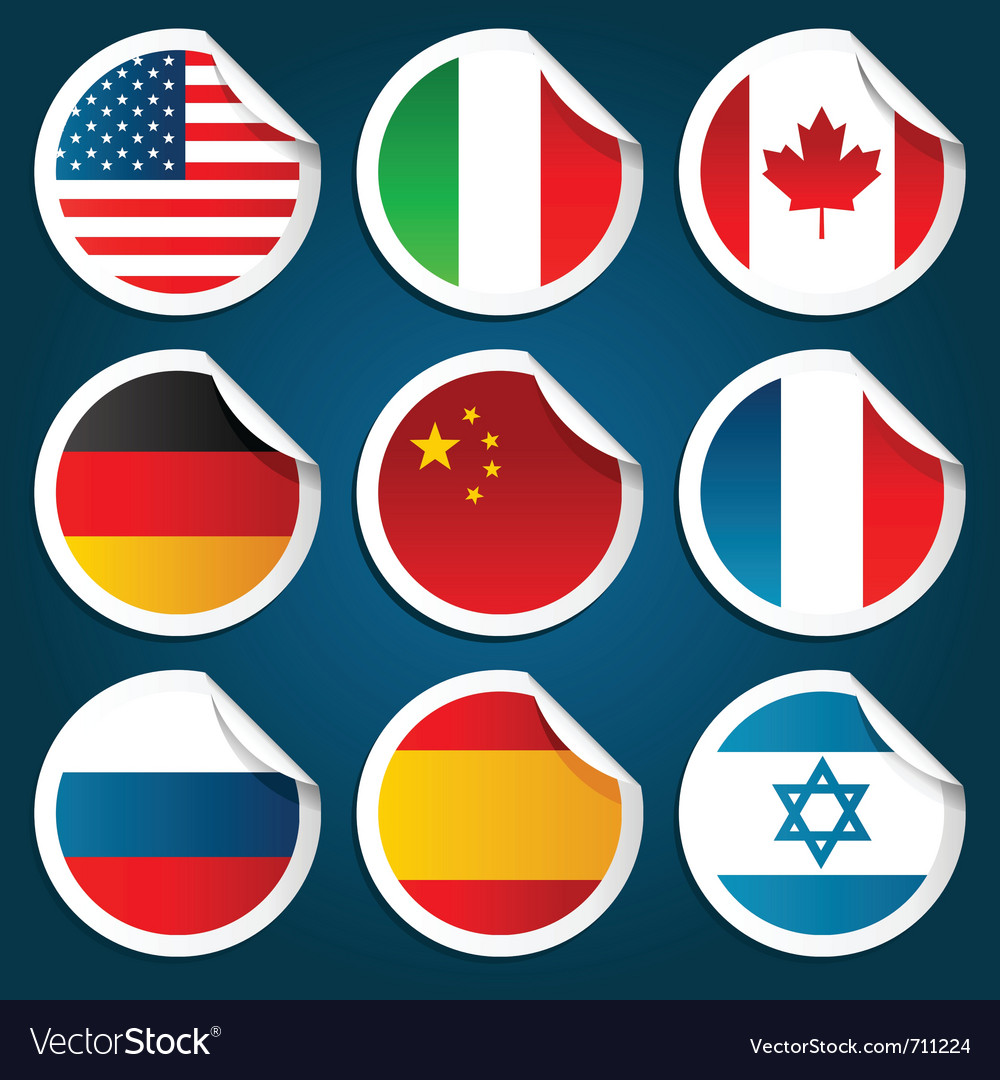 World flag stickers vector | Price: 1 Credit (USD $1)