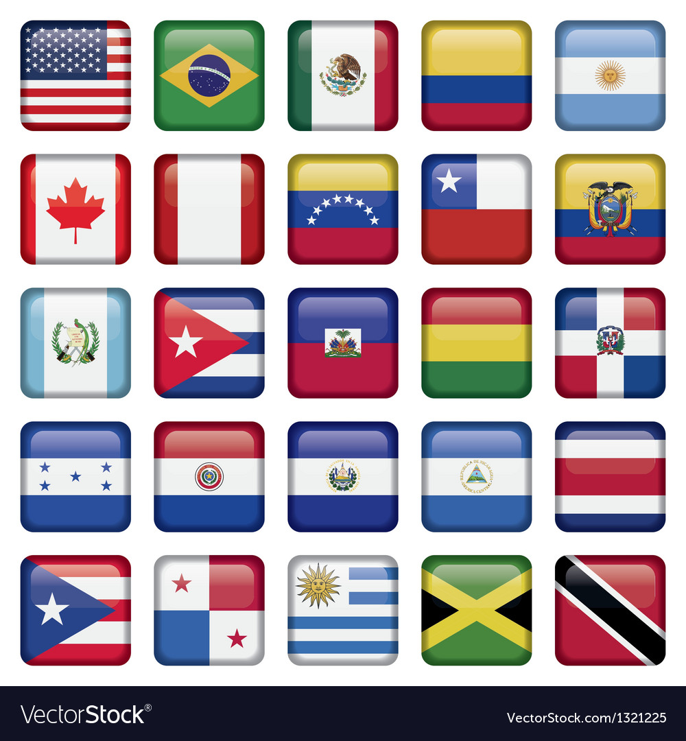 American flags squared icons vector | Price: 1 Credit (USD $1)