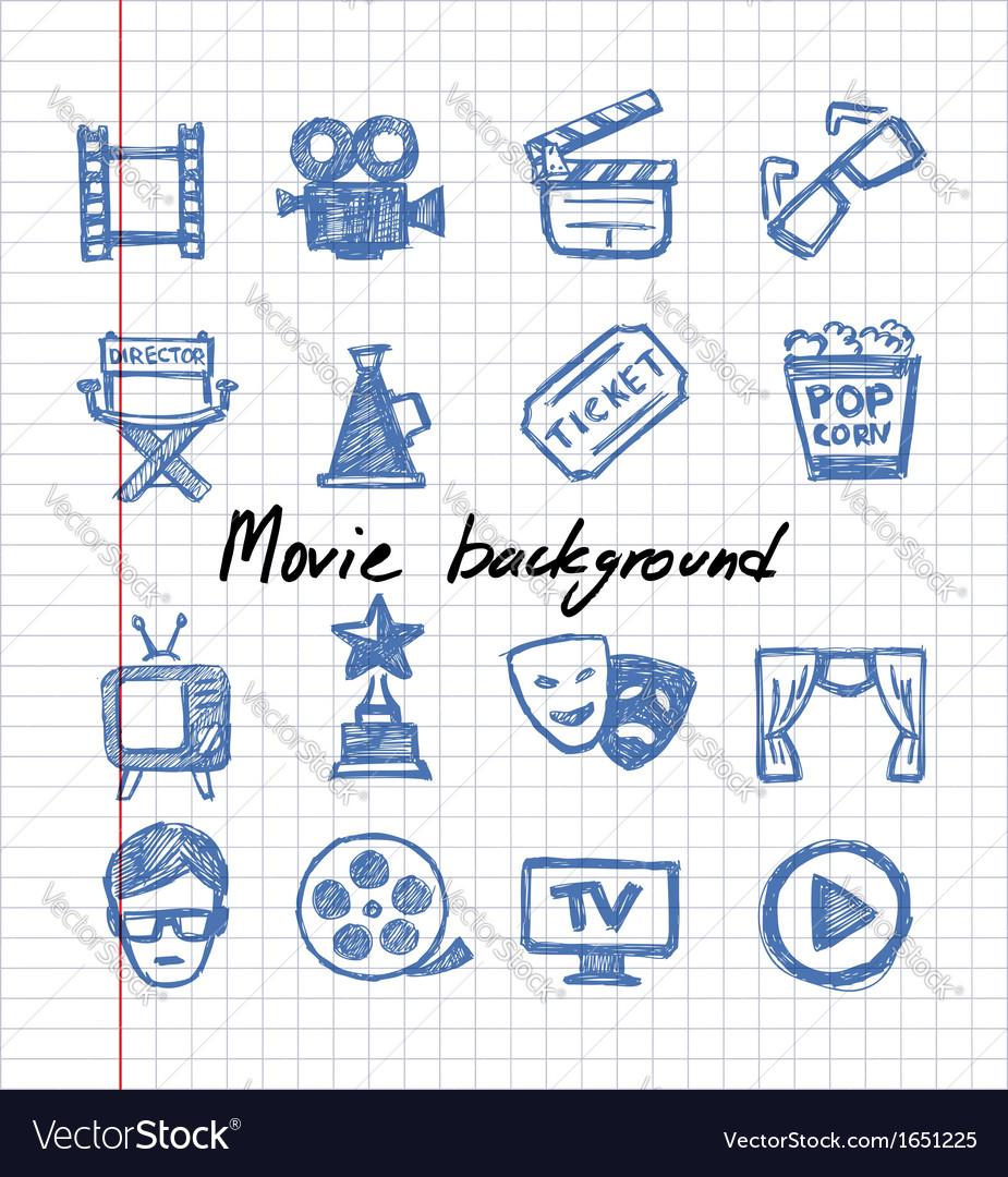 Blue movie icon set vector | Price: 1 Credit (USD $1)