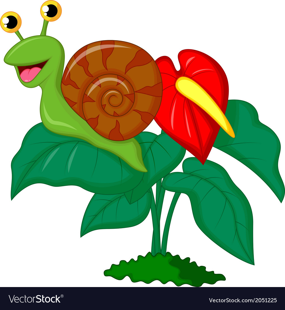 Cute snail cartoon on leaf vector | Price: 1 Credit (USD $1)