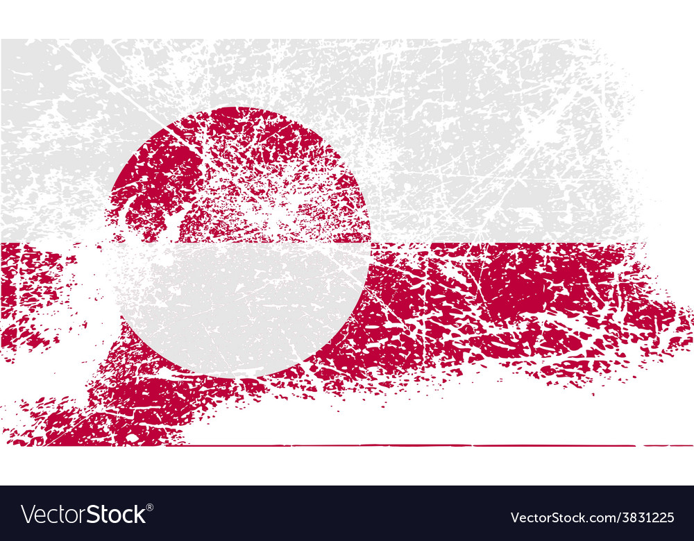 Flag of greenland with old texture vector | Price: 1 Credit (USD $1)
