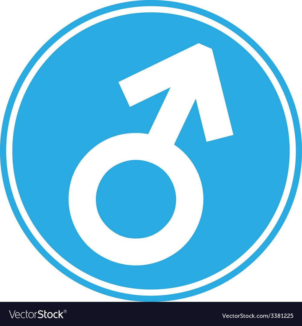 Gender male symbol button vector | Price: 1 Credit (USD $1)
