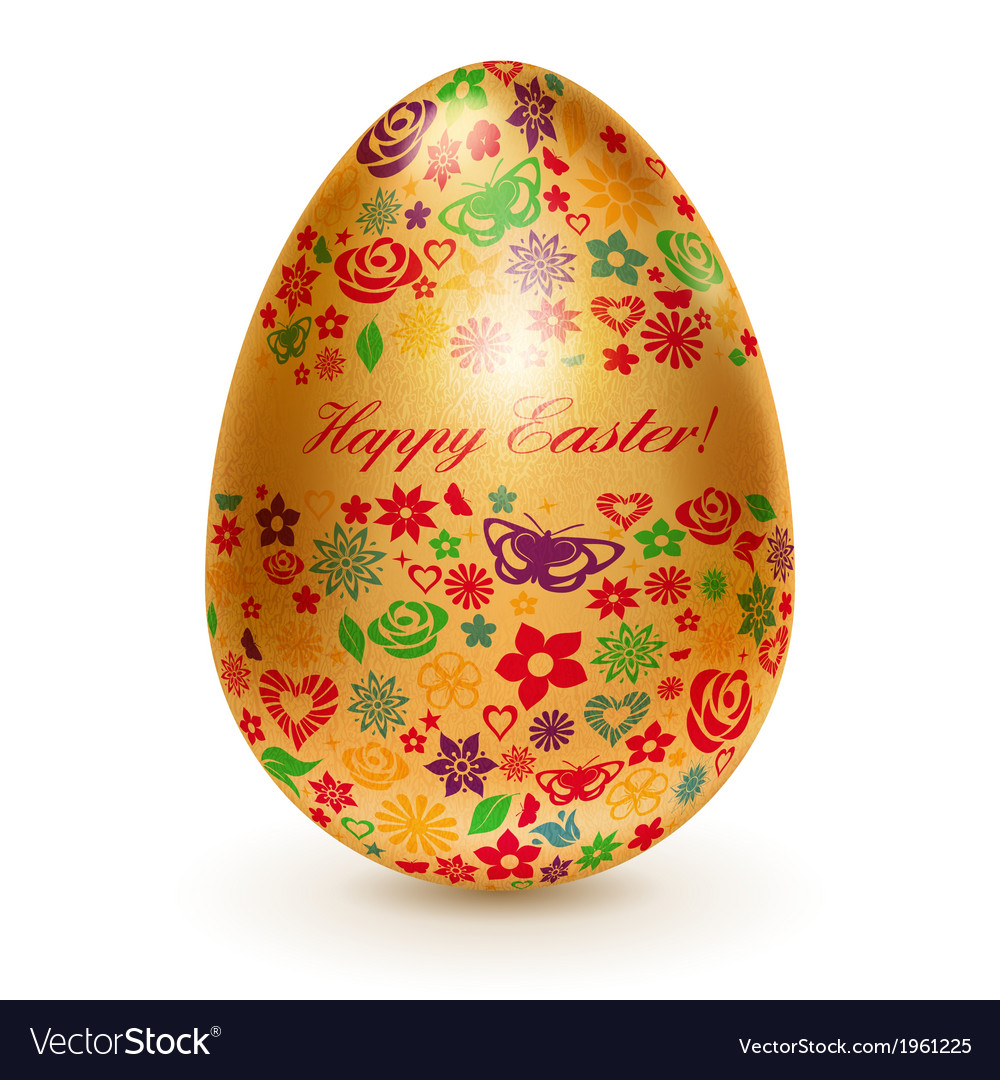 Golden egg with flowers vector | Price: 1 Credit (USD $1)