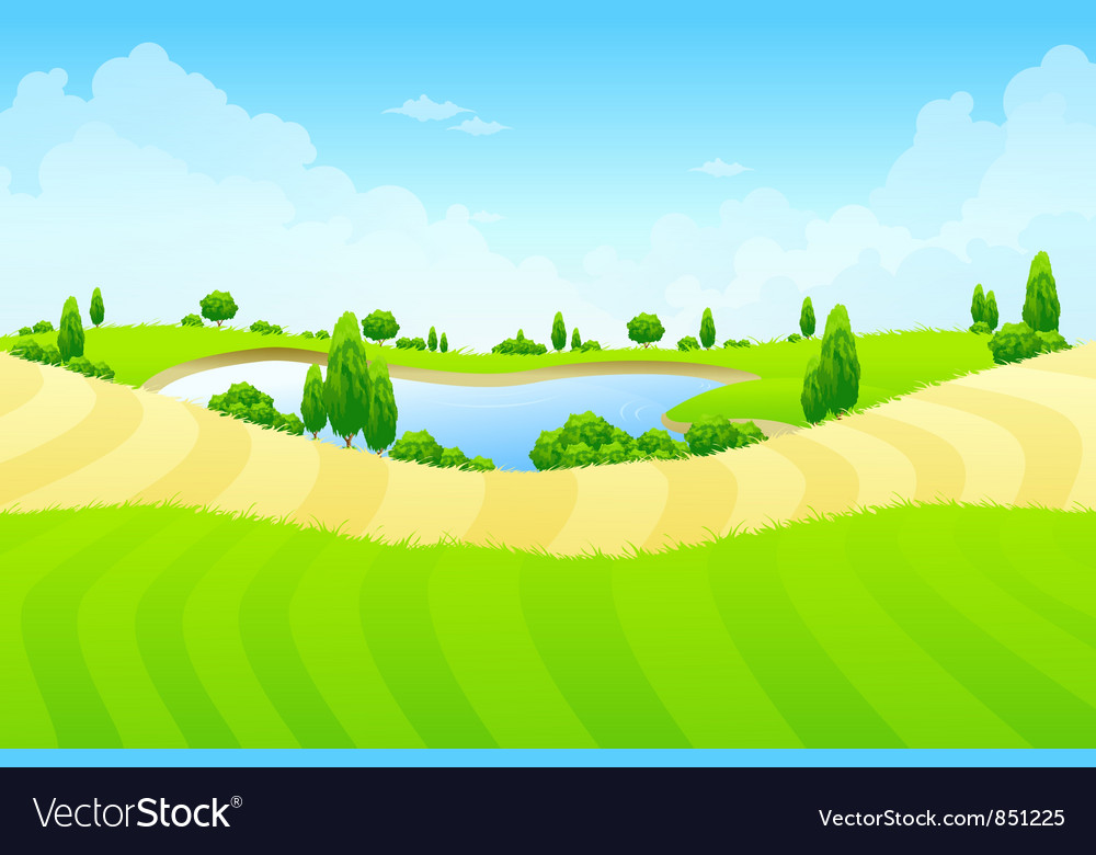 Green landscape with lake vector | Price: 1 Credit (USD $1)