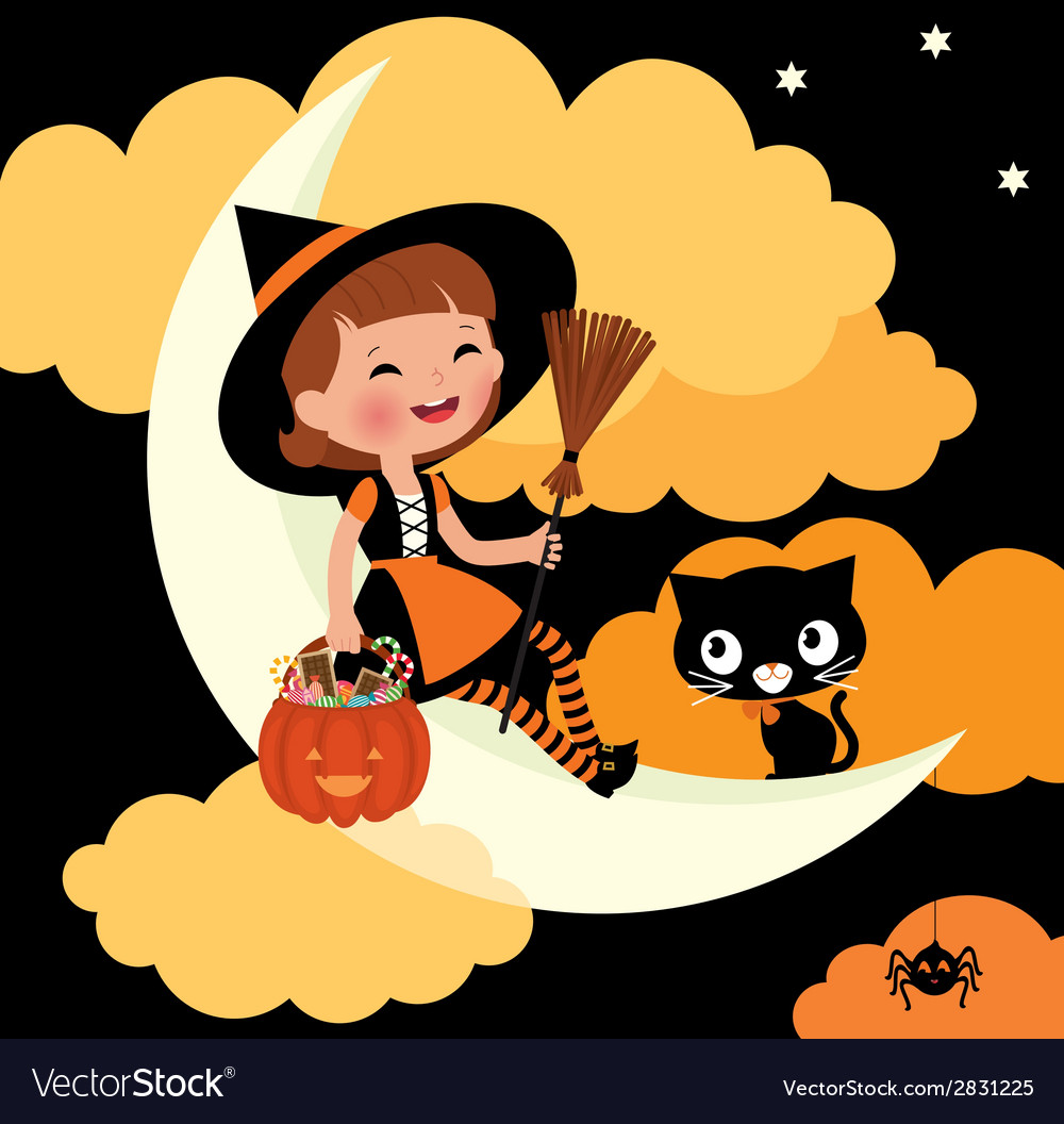 Little witch riding on the moon on halloween night vector | Price: 1 Credit (USD $1)