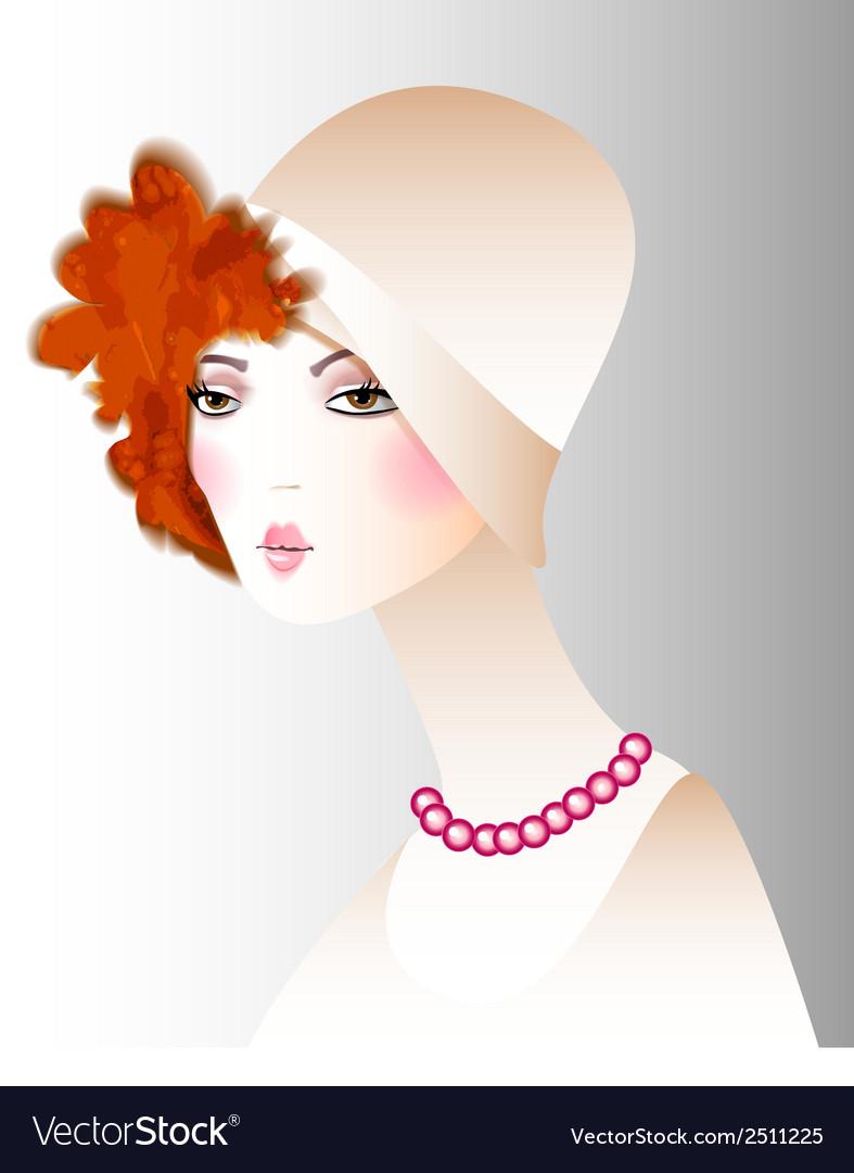 Retro girl in a hat fashion vector | Price: 1 Credit (USD $1)