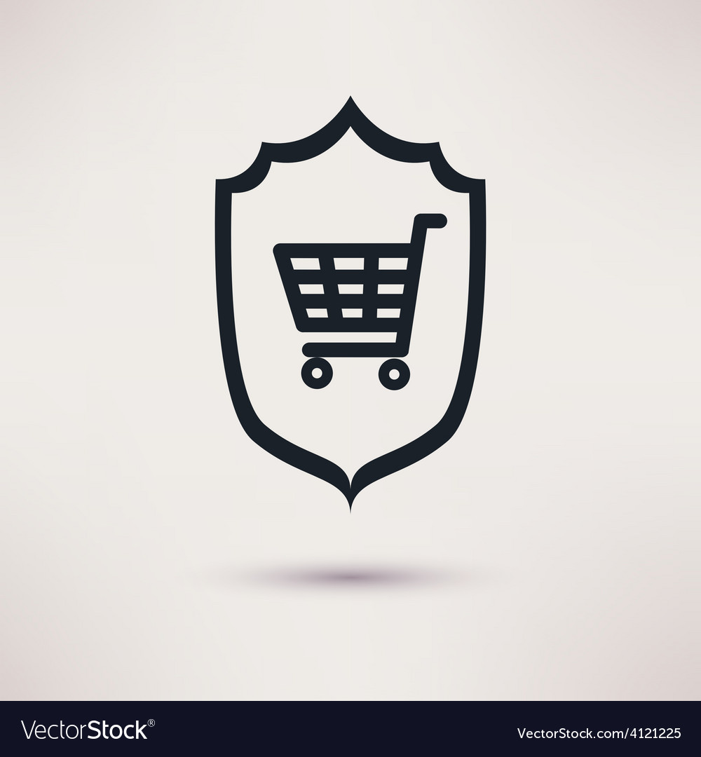 Shopping and shield sign of consumer protection vector | Price: 1 Credit (USD $1)