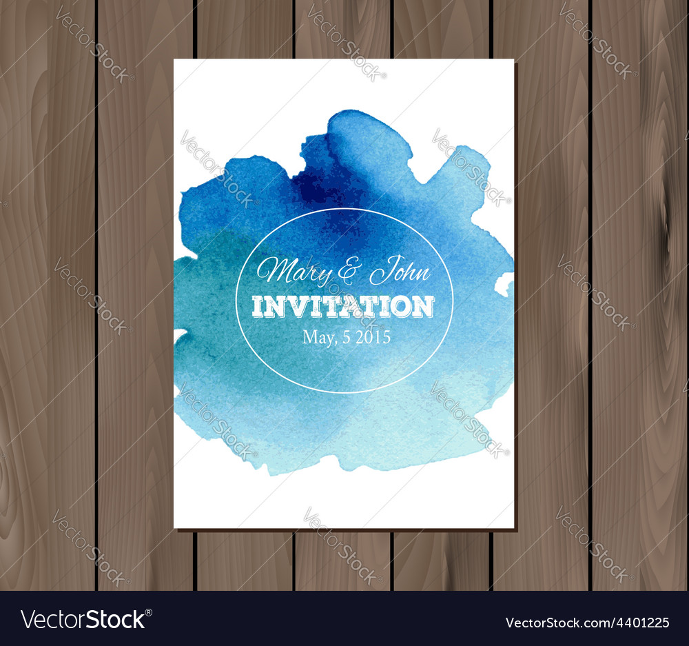 Wedding invitation with watercolor stain vector | Price: 1 Credit (USD $1)