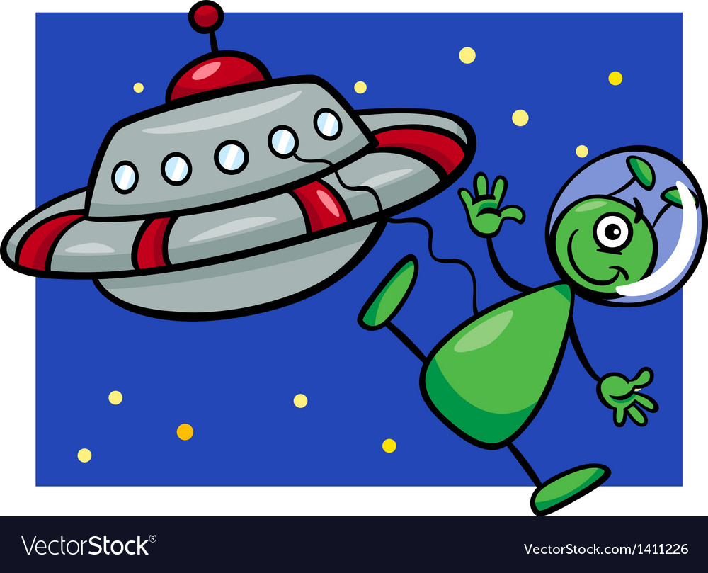 Alien with ufo cartoon vector | Price: 1 Credit (USD $1)