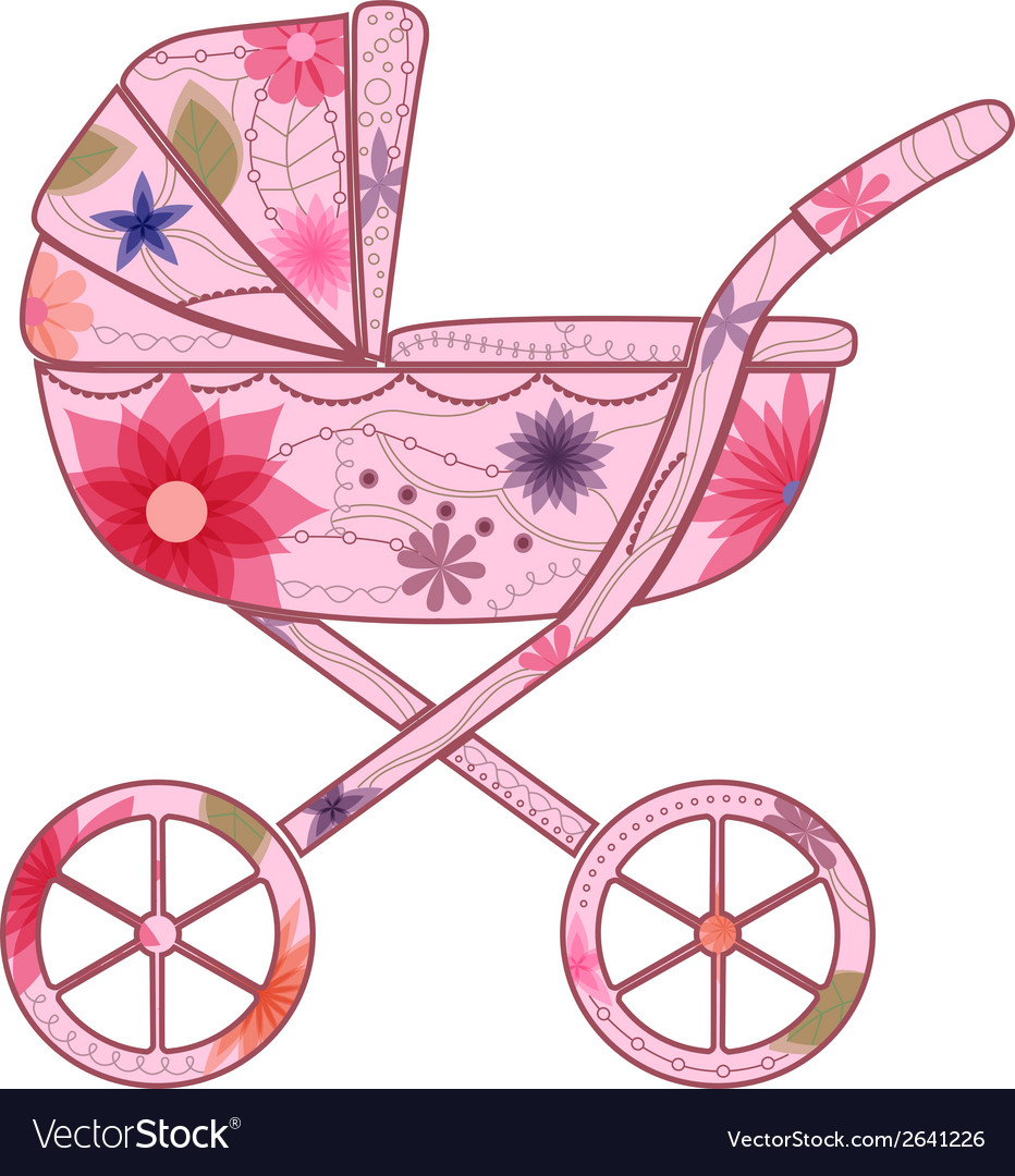 Baby carriage for girl 2 vector | Price: 1 Credit (USD $1)